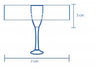 Área de impressão Taça de Espumante