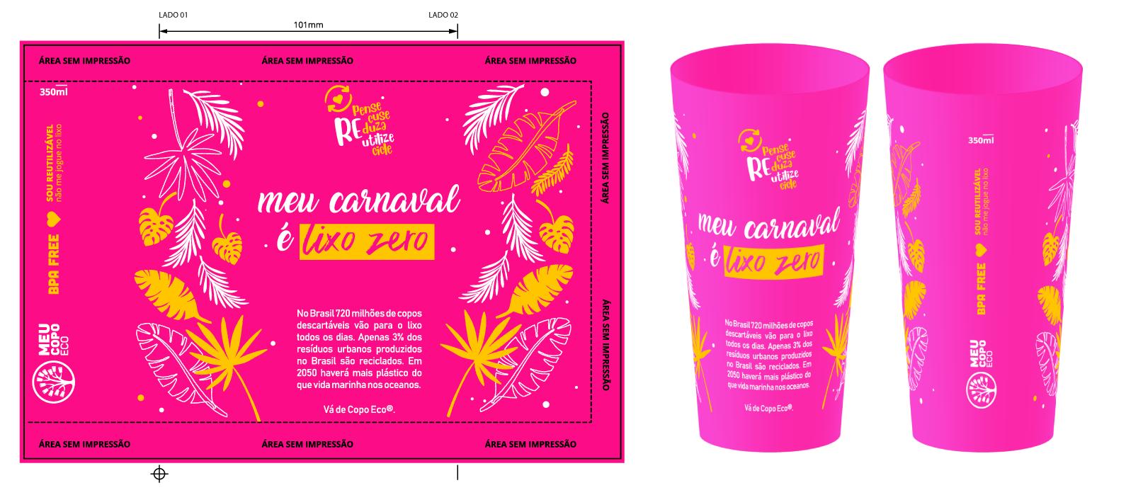 Copo Carnaval Sem Lixo Rosa Neon